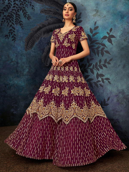 Wine Golden Embroidered Georgette Anarkali Suit