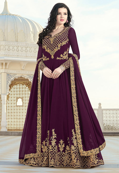 Wine Purple Elegant Embroidered Anarkali Suit
