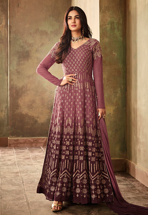 Wine Purple Embroidered And Shaded Georgette Anarkali Suit