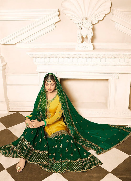 Yellow And Green Embroidered Designer Gharara Palazzo Suit