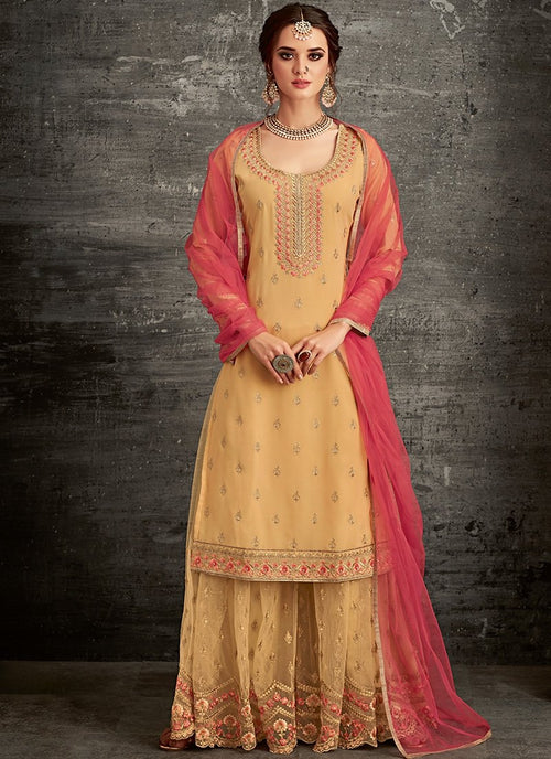 Yellow And Red Ethnic Embroidered Palazzo Suit