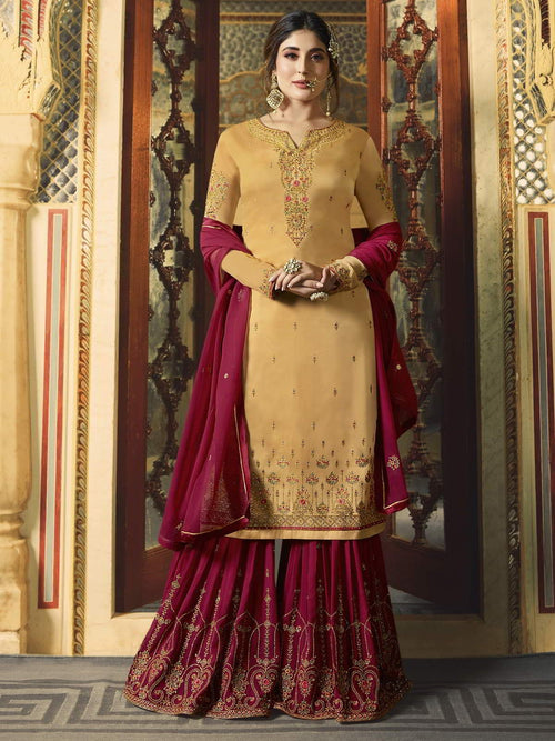 Yellow And Red Ethnic Embroidered Sharara Suit