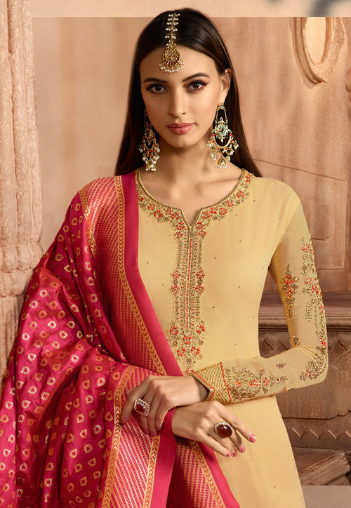 Yellow And Red Embroidered Satin Churidar Suit