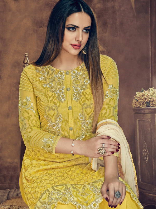 Yellow Bloom Embroidered Flared Palazzo Suit