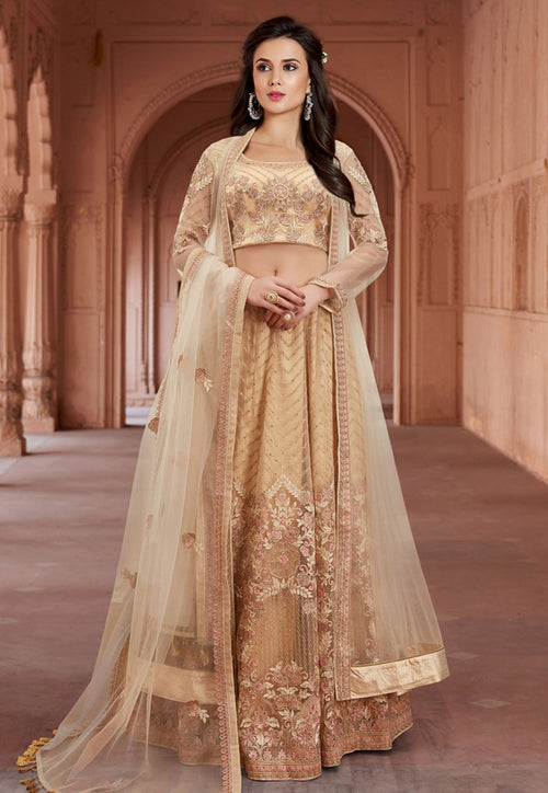 Yellow Golden Embroidered Net Lehenga Choli Set