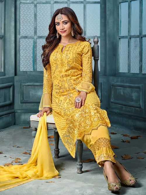 Yellow Overall Designer Embroidered Pant Suit