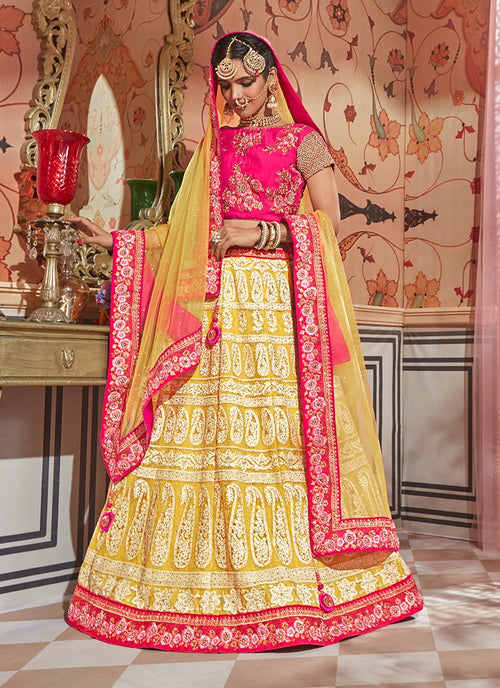 Yellow Tones With Pink Contrast Traditional Lehenga Choli Set