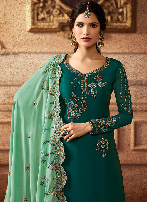 Green Two Tone Embroidered Palazzo Suit, Salwar Kameez