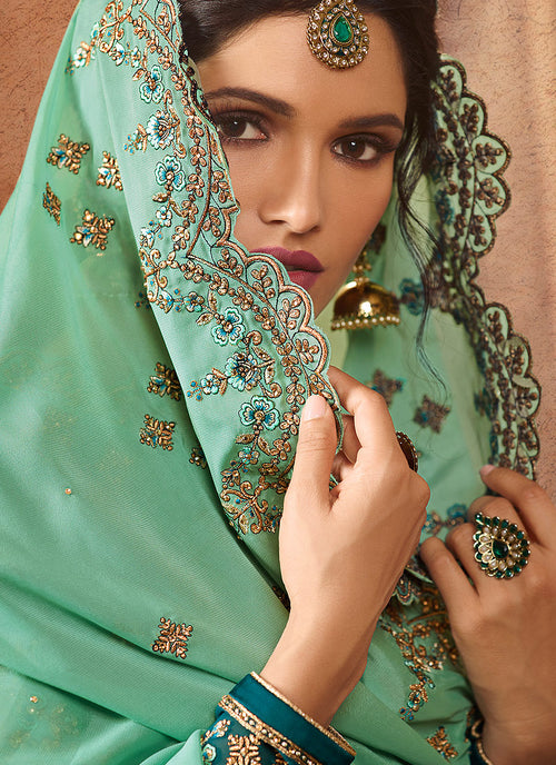 Green Two Tone Embroidered Palazzo Suit