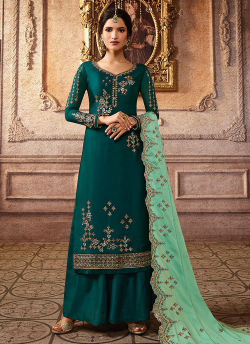 Indian Clothes - Green Two Tone Embroidered Palazzo Suit