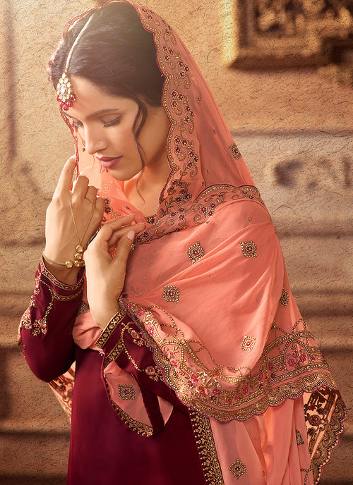Maroon And Peach Embroidered Palazzo Suit, Salwar Kameez
