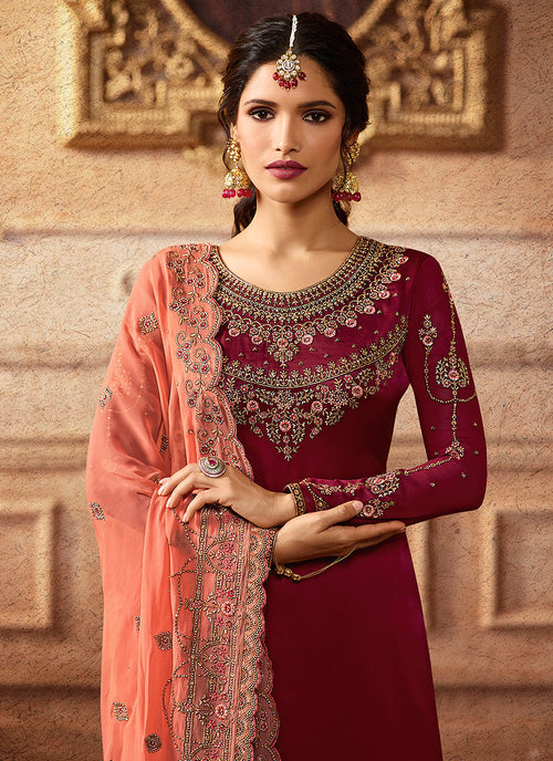 Maroon And Peach Embroidered Palazzo Suit