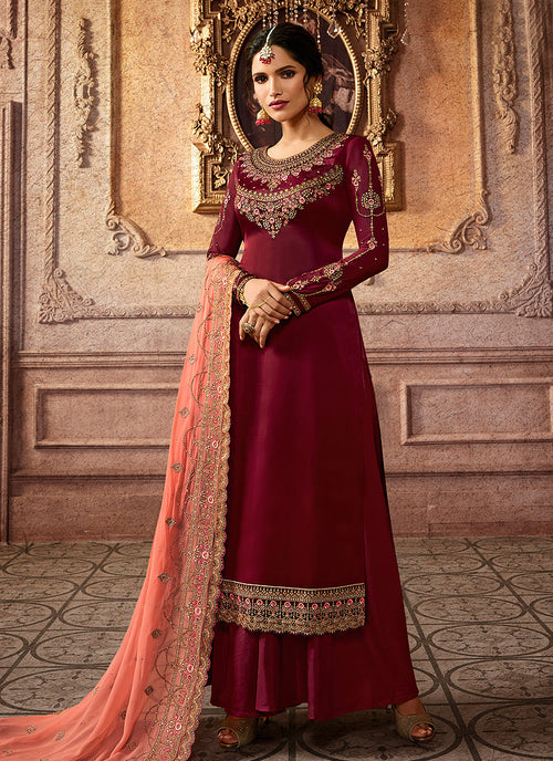 Indian Clothes - Maroon And Peach Embroidered Palazzo Suit