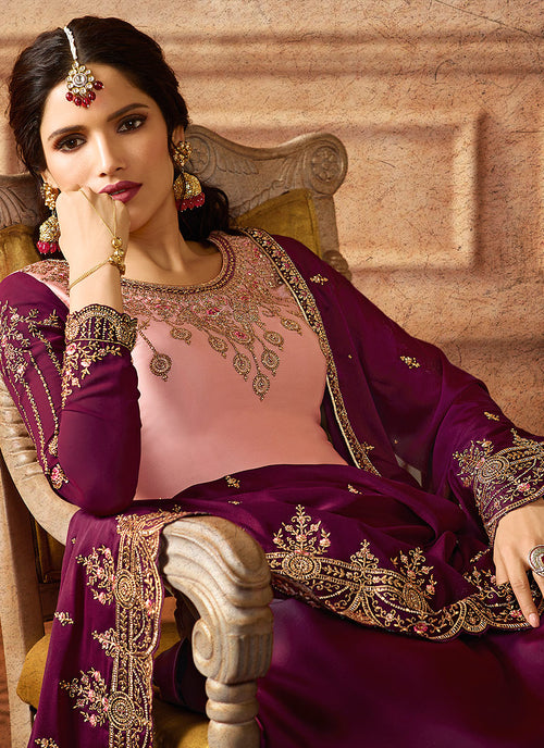 Pink And Purple Shaded Embroidered Palazzo Suit, Salwar Kameez