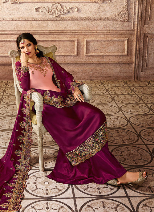 Pink And Purple Shaded Embroidered Palazzo Suit