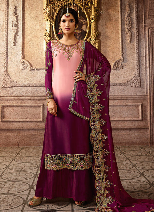 Indian Clothes - Pink And Purple Shaded Embroidered Palazzo Suit