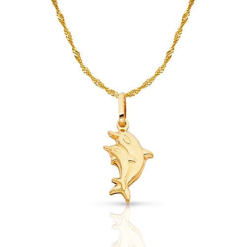 14K Yellow Gold Double Dolphin Prosperity Charm Pendant