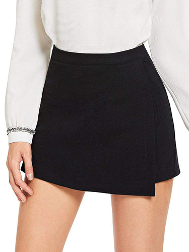 SheIn Women's Casual Asymetric Hem Wrap Skirts Shorts Plain Skorts