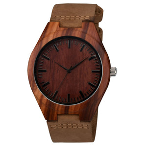 Bamboo Watch with Crazy Horse Leather Strap Quartz Analog Casual  Wood Watches