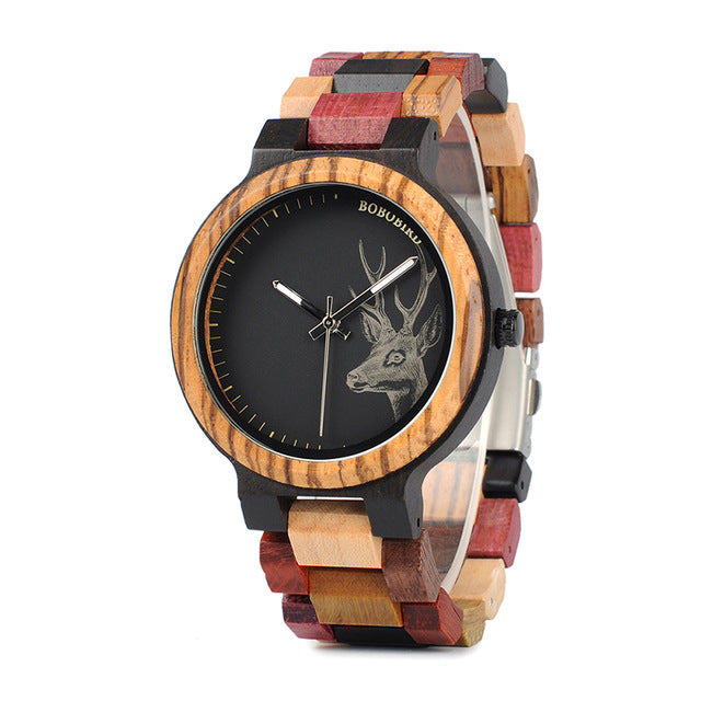 Deer Collection Wood Watches Date