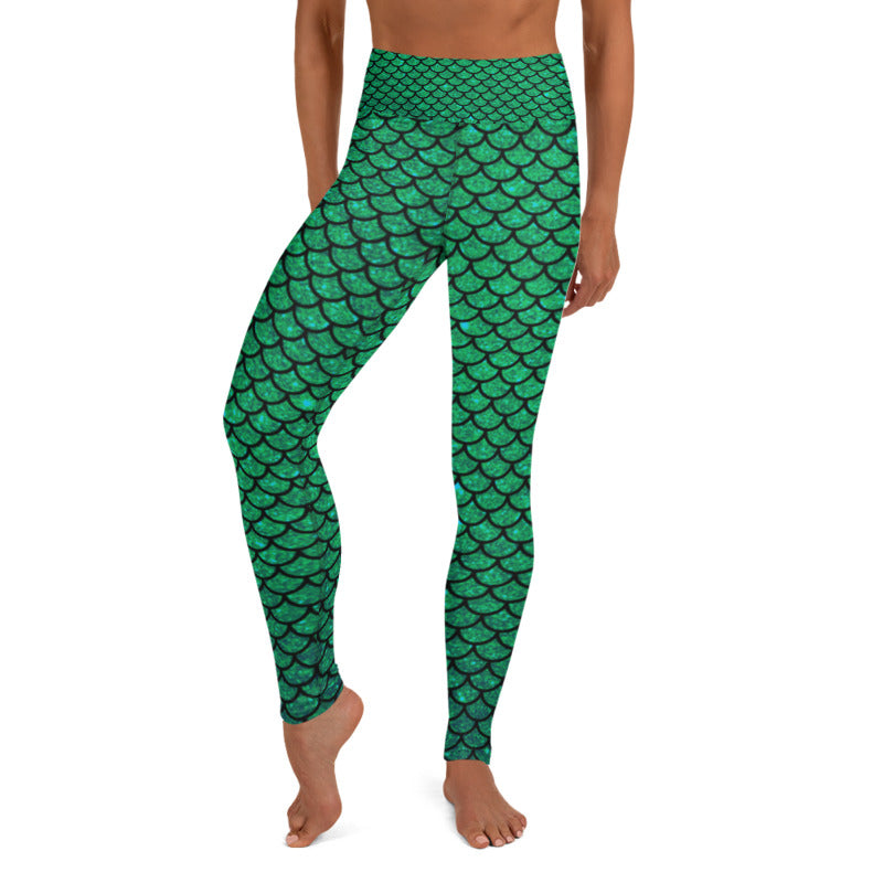 Green mermaid leggings, Capris and Shorts