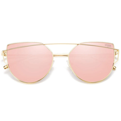 Cat Eye Mirrored Flat Lenses Street Fashion Metal Frame