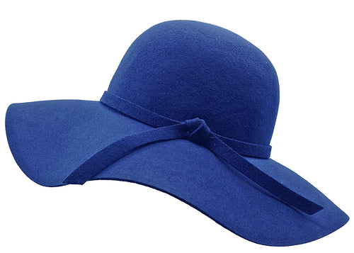 Bienvenu Women's Wide Brim Wool Ribbon Band Floppy Hat