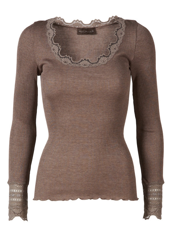Rosemunde Lace Blouse in silk mix w round neck, Brown Melange