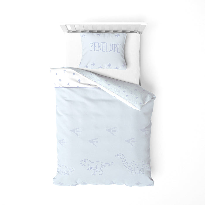 Organic cotton duvet cover bedding set - Dinos | Blue