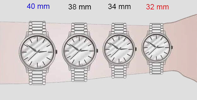 wrist watch size watches