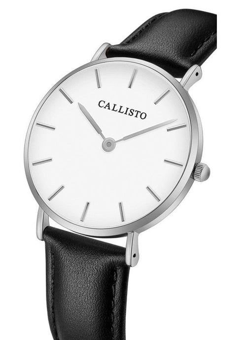 Callisto watch in silver and white with black colored leather strap