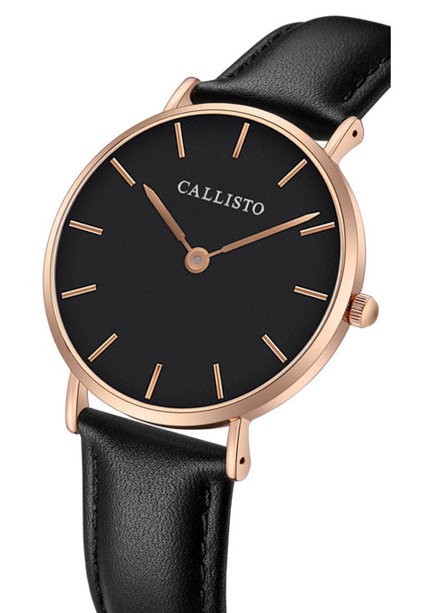 Callisto watch in rose gold and black with black leather strap