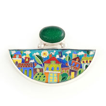 Load image into Gallery viewer, Handmade Enamel Pendant in shape of Half Moon with Natural Green Agata stone, beautiful enamel pattern inspired by picturesque Tbilisi buildings and streets. This pictures displays pendant on white background