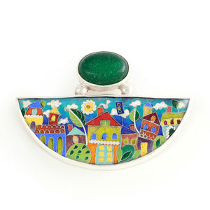 Handmade Enamel Pendant in shape of Half Moon with Natural Green Agata stone, beautiful enamel pattern inspired by picturesque Tbilisi buildings and streets. This pictures displays pendant on white background