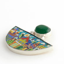 Load image into Gallery viewer, Handmade Enamel Jewelry, This Enamel Pendant in shape of Half Moon with Natural Green Agata stone, beautiful enamel pattern inspired by picturesque Tbilisi buildings and streets. This pictures displays pendant on white background