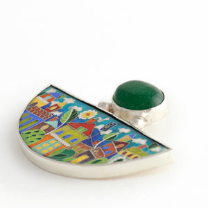 Handmade Enamel Jewelry, This Enamel Pendant in shape of Half Moon with Natural Green Agata stone, beautiful enamel pattern inspired by picturesque Tbilisi buildings and streets. This pictures displays pendant on white background