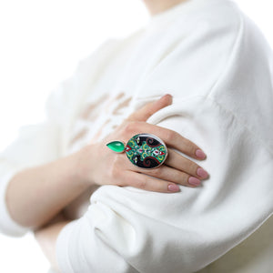 Black Leopards Statement Ring with Green Agate Stone