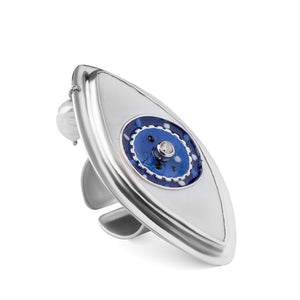 Blue Eye Statement Ring with Pearl in Sterling Silver