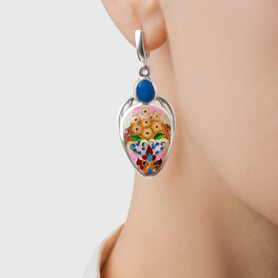 Blue Lagoon Enamel Earrings in Sterling Silver