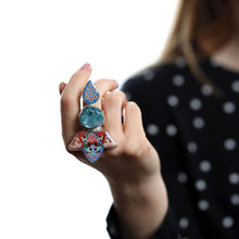Load image into Gallery viewer, Druzy Crystal Flamingo Ring in Sterling Silver