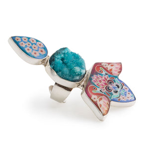 Druzy Crystal Flamingo Ring in Sterling Silver