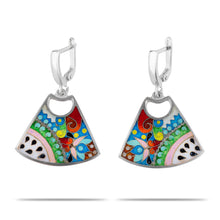 Load image into Gallery viewer, Enamel Earrings with Ornaments in Sterling Silver