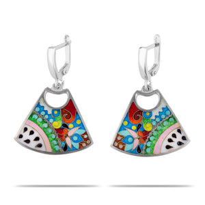 Enamel Earrings with Ornaments in Sterling Silver