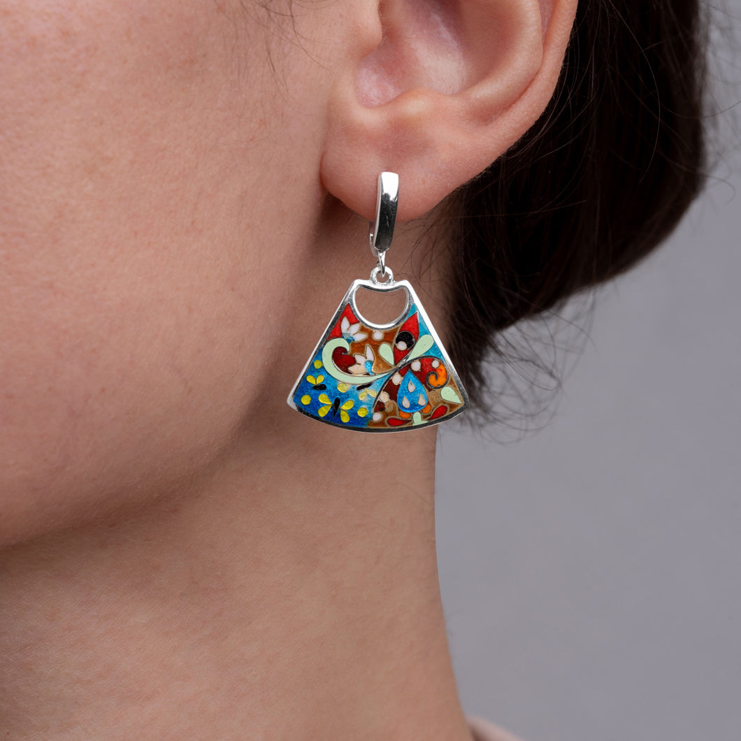 Enamel Earrings with Butterflies in Sterling Silver