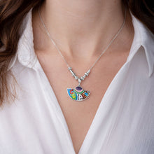 Load image into Gallery viewer, Enamel Necklace with Ornaments in Sterling Silver