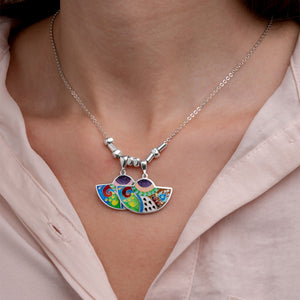 Enamel Jewelry Set with Ornaments in Sterling Silver