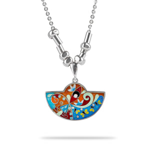 Enamel Necklace with Butterflies in Sterling Silver