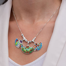 Load image into Gallery viewer, Enamel Necklace with Butterflies in Sterling Silver