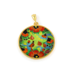 Gold Poppy Necklace with Cloisonné Enamel