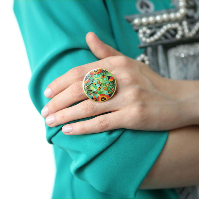 Gold Poppy Ring with Cloisonné Enamel